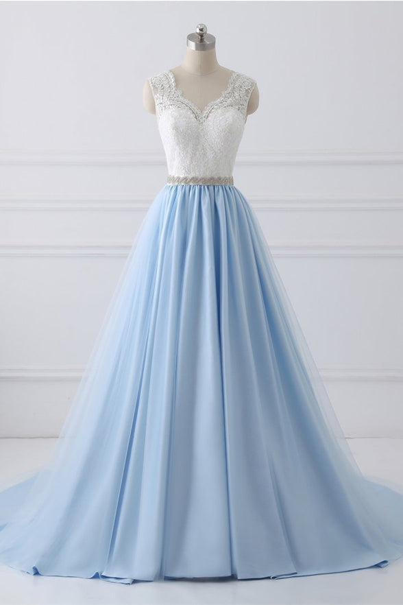 New Arrival White Lace Blue Tulle Beads Belt Prom Dresses Evening Dress Party Gowns LD846