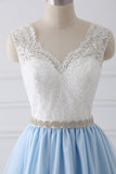 New Arrival 2018 White Lace Blue Tulle Beads Belt Prom Dresses Evening Dress Party Gowns LD846