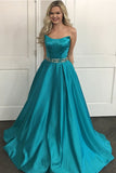 Fashion A Line Satin Floor Length Beaded Belt Prom Dress Evening Gowns Party Dresses LD847