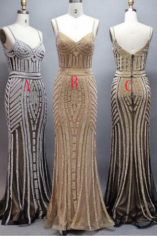 Sexy Spaghetti Straps Silver Crystals Mermaid Long Prom Dresses Shiny Evening Dress Party Gown LD849