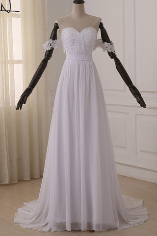 Hot Sales Real Picture White Lace Chiffon Off the Shoulder Beach Wedding Dresses Bridal Dress LD850