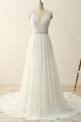 Ivory Lace Chiffon V Neck Off the Shoulder Beach Cheap Wedding Dresses Bridal Dress Gowns LD851