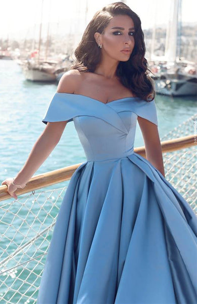 New Arrival Off the Shoulder Blue Front Slit Long Sexy Prom Dresses Evening Gowns Party Dress LD852