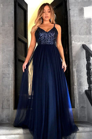 Spaghetti Straps Backless Navy Blue Sequin A Line Prom Dresses Evening Dress Party Gowns LD866