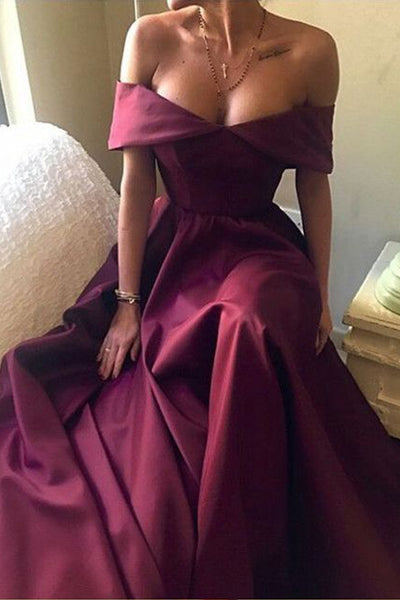 A Line Off the Shoulder Burgundy Satin Simple Prom Dresses Evening Gowns Party Dress LD853