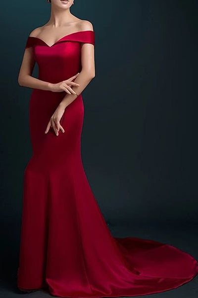 Hot Sales Mermaid Off the Shoulder Burgundy Long Prom Dresses Evening Party Dress LD854