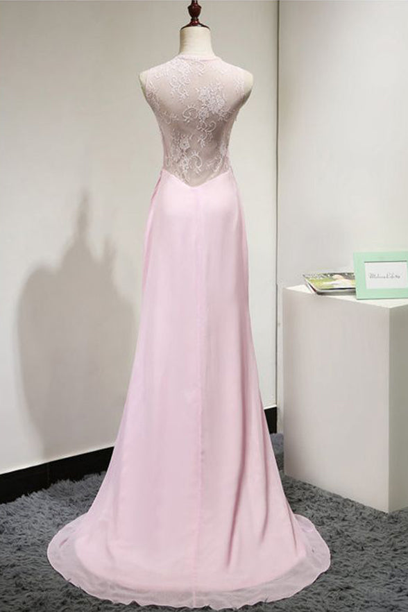 High Neck See Through Pink Lace Long Fashion Prom Dresses Evening Party Dress LD856