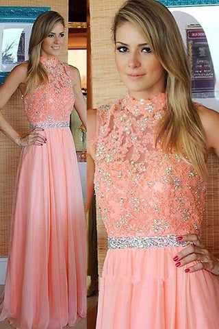Fashion High Neck Lace Beaded A Line Floor Length Prom Dresses Evening Party Dress LD859