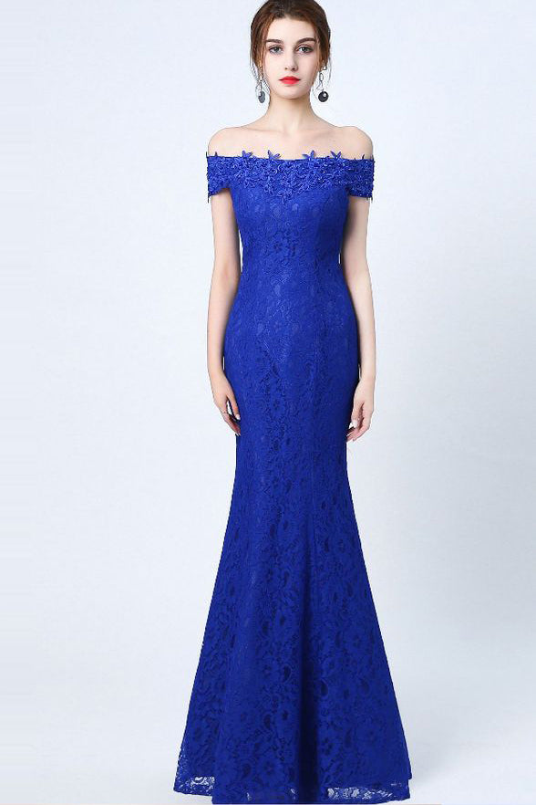 Hot Sales Mermaid Royal Blue Lace Long Off the Shoulder Prom Dresses Evening Party Dress LD860