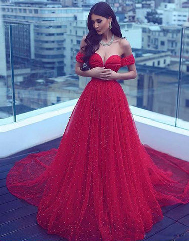 Red Prom Dresses with Sleeves Empire Waist