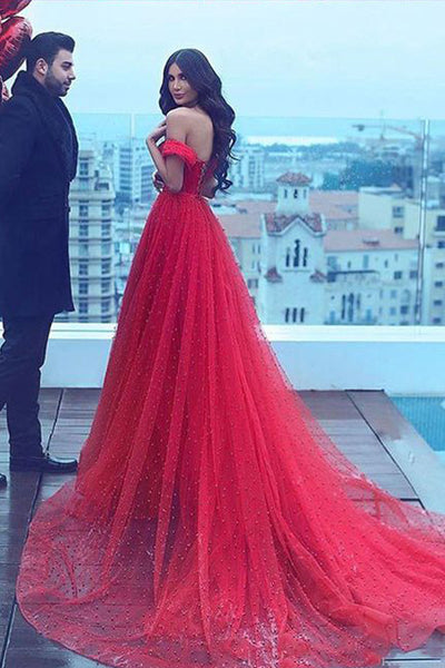 2018 New Empire Waist A Line Red Long Train Sexy Prom Dresses Evening Dress Party Gowns LD861
