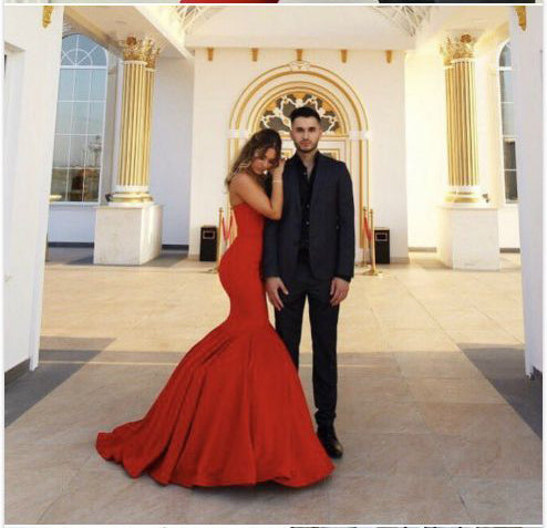 Fashion Red Sweetheart Satin Mermaid Elegant Prom Dress Evening Dress Party Gown LD862