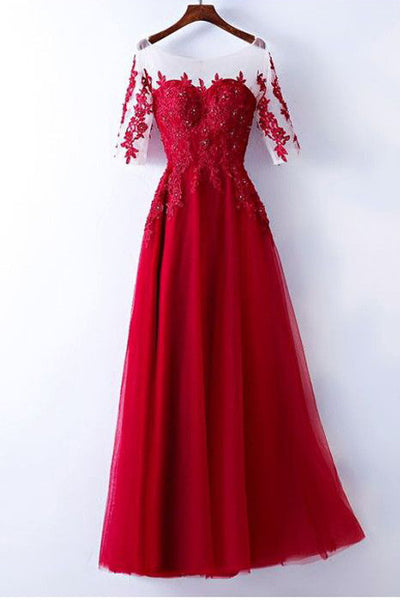 3/4 Long Sleeves Lace Red Floor Length Prom Dresses Evening Dress Party Gown LD863