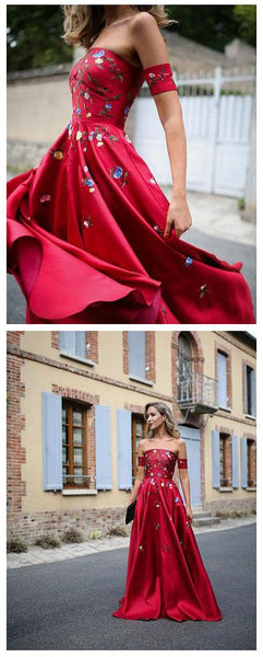 Embroidery Strapless A Line Red Floor Length Prom Dress Evening Gowns Party Dresses LD864