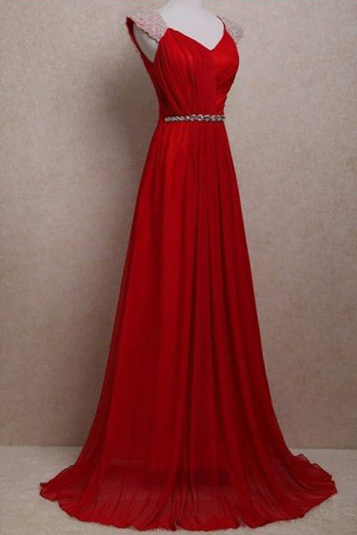 Backless Cap Sleeves Red Real Picture Floor Length Prom Dresses Evening Party Dress Gown LD865