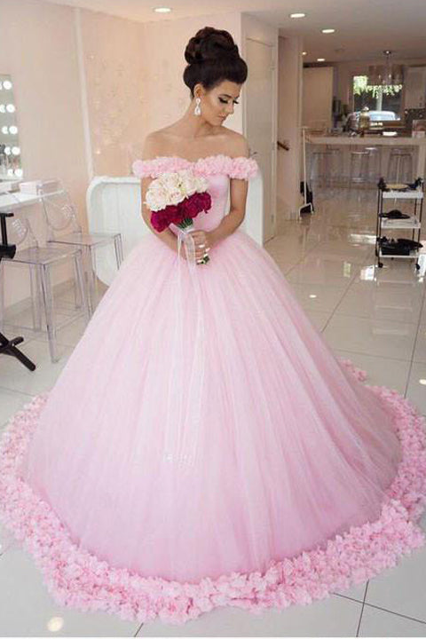 Luxury Pink Ball Gown Hand Fowers Sexy Wedding Dresses Prom Dress Quinceanera Dress LD867