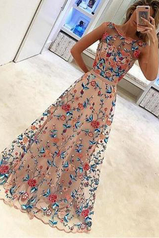 New Arrival Embroidery Lace Sleeveless Long Prom Dresses Evening Gowns Party Dress 2018 LD868