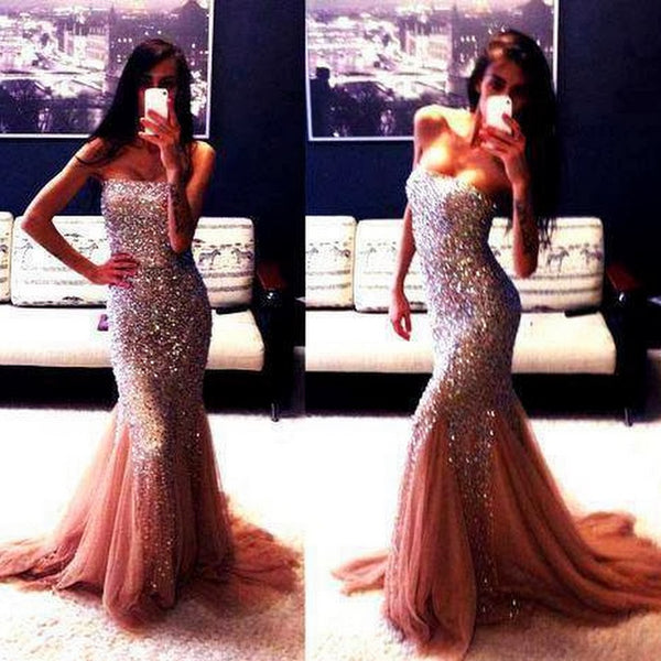 Fashion Strapless Mermaid Heavy Beadings Tulle Prom Dresses Evening Gowns Party Dress LD869