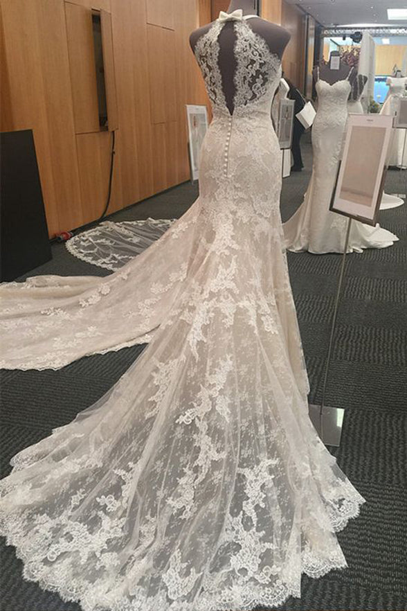 Hot Sales V Neck Halter Mermaid Lace Chapel Train Wedding Dresses Bridal Dress Wedding Gowns LD871