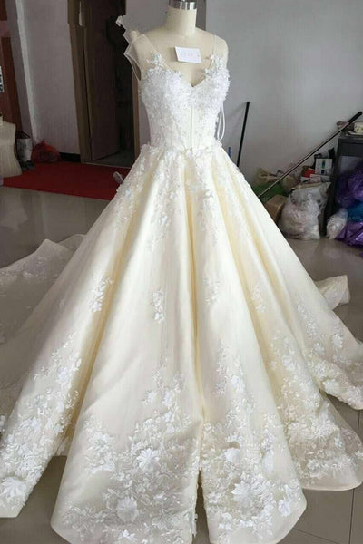 Luxury Chapel Train Cap Sleeves Lace Appliques Wedding Dresses Bridal Dress Weding Gowns LD874