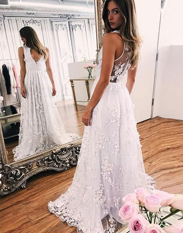 A Line White Lace V Neck See Through Beach Wedding Dresses Bridal Dress Weding Gowns LD876