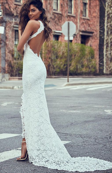 Hot Sales High Neck Ivory Lace Backless Split Mermaid Beach Wedding Dresses Bridal Dress LD879