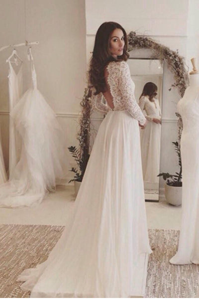 Long Sleeves V Neck Backless Lace Chiffon Cheap Beach Wedding Dresses Bridal Dress Gown LD879
