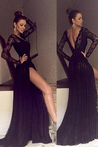 Sexy Black Lace Long Sleeves Open Back Slit Prom Dresses Evening