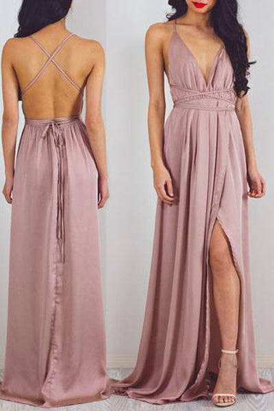 Hot Sales Spaghetti Straps Backless Split Elegant Prom Dresses Evening Dress Party Gown LD881