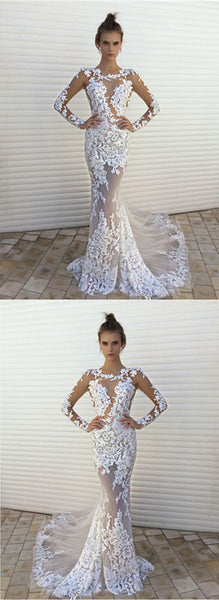 Sexy White Lace Mermaid See Through Long Sleeves Wedding Dress Prom Dresses Party Gown LD882
