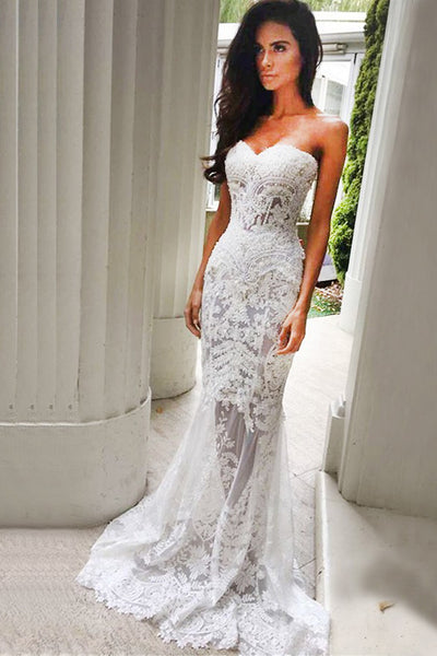 Hot Sales Lace Sweetheart Mermaid Ivory Beach Wedding Dresses Prom Dress Bridal Gown LD885