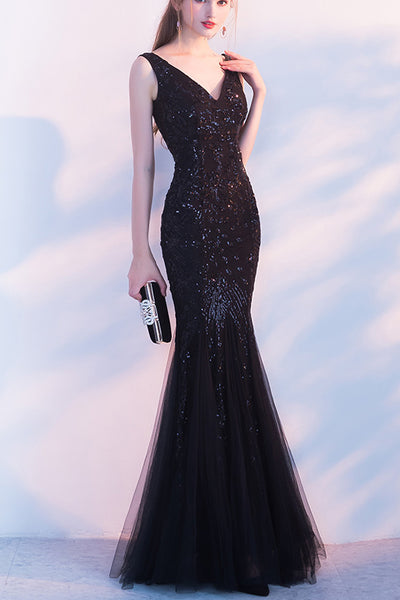 New Arrival 2018 Black Sequin V Neck Mermaid Long Prom Dresses Evening Gowns Party Dress LD886