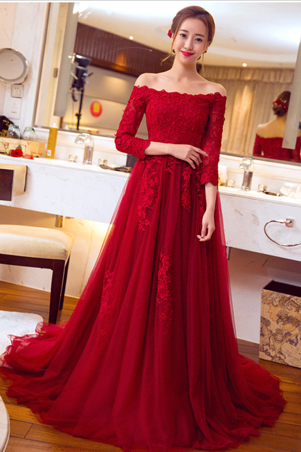 A Line Red Lace 3/4 Long Sleeves Cheap Sexy Prom Dresses Evening Gowns Party Dress LD887