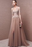 Fashion Half Sleeves Lace Tulle Open Back Cheap Prom Dress Evening Party Dresses LD889