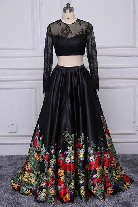 Chic 2 Pieces Long Sleeves Black Lace Embroidery Cheap Prom Dresses Evening Gown Party Dress LD890