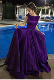 Elegant High Neck Purple Satin A Line Long Open Back Prom Dress Evening Gown Party Dresses LD891