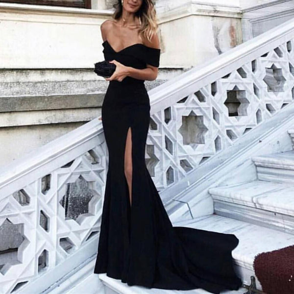 Fashion Off the Shoulder Black Front Slit Mermaid Long Prom Dresses Evening Gown Party Dress LD892