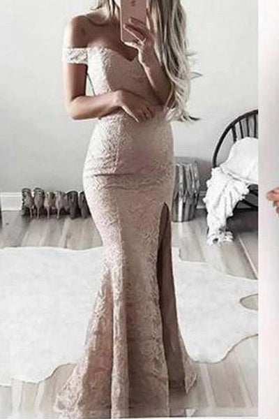 Lace Mermaid Off the Shoulder Front Split Long Prom Dresses LD893