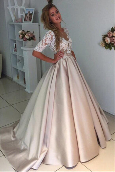 Princess White Lace Half Sleeves V Neck See Through Prom Dresses Evening Dress Party Gowns LD895