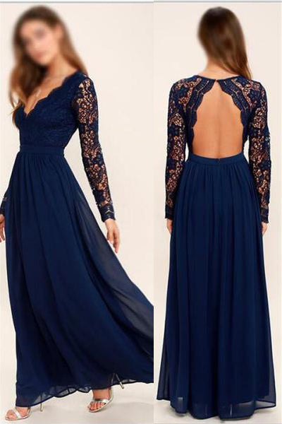Long Sleeves V Neck Backless Navy Blue Lace Prom Dresses Evening Dress Bridesmaid Dress LD897