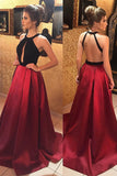 Fashion Burgundy Backless Halter A Line Sleeveless Sexy Prom Dresses Evening Gowns Party Dress LD898