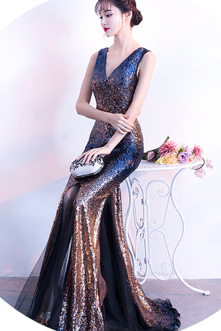 Sexy New Off the Shoulder Sequin Back V Mermaid Prom Dress 2018  Evening Party Dresses LD900
