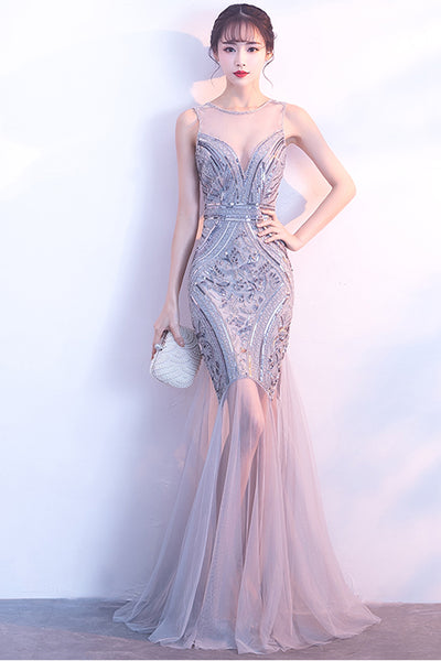 New Arrival Silver Sequin Backless Floor Length Mermaid Prom Dresses 2018 Evening Party Dress LD901