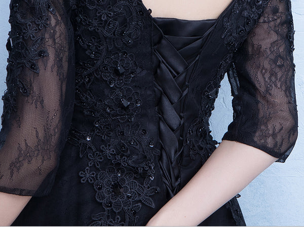 Hot Sales Black Half Sleeves Lace V Neck Cheap Prom Dresses Evening Party Dress Gowns LD902