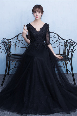 Black Half Sleeves Lace V Neck Cheap Prom Dresses Evening Party ...