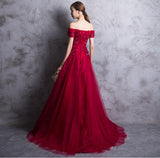 Short Sleeves Red Lace Appliques High Quality Prom Dresses Evening Gowns Party Dress LD905