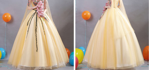 New Arrival 2018 Yellow Appliques Ball Gown Prom Dresses Wedding Evening Quinceanera Dress LD906