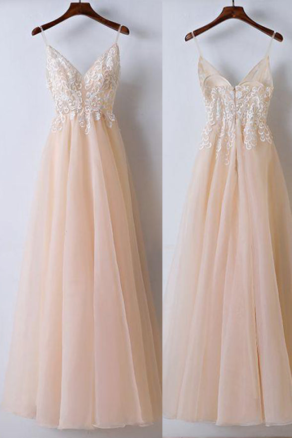 Spaghetti Straps A Line Lace Appliques Real Picture Prom Dresses Wedding Evening Dress LD907