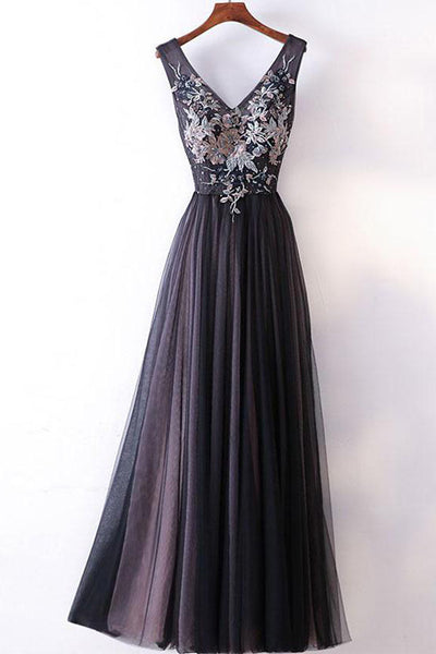 Modest Real Picture A Line V Neck Floor Length Black Prom Dresses Evening Party Dress LD910