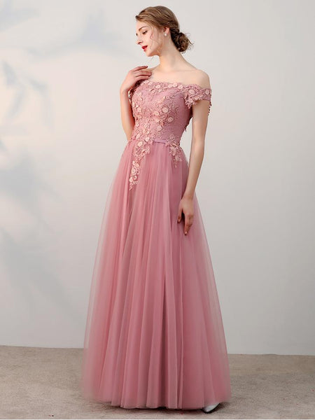 Charming Blush Pink Lace Appliques Cheap Floor Length Prom Dress Evening Party Dresses LD911